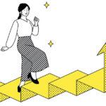 階段をスイスイ昇っている女性